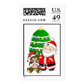Santa And Christmas Bear Postage