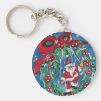 SANTA AND CHRISTMAS NIGHT CROWN WITH RED RIBBON KEYCHAIN