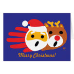Hand shaped Santa and Christmas Reindeer card