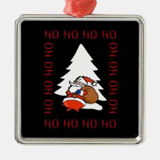 Santa And Christmas Tree Ho Ho Ho Ho Christmas Orn Metal Ornament