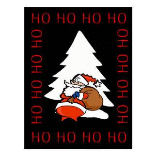 Santa And Christmas Tree Ho Ho Ho Ho Christmas Pos Postcard
