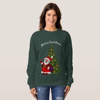 Santa and Christmas Tree Sweatshirt