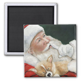 Santa and Corgi Pup Christmas Magnet