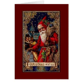 Santa and Deer Christmas Wishes Card