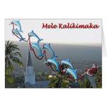 Santa and Dolphins Mele Kalikimaka Card