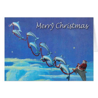 Santa and Dolphins Night Sky Christmas Card