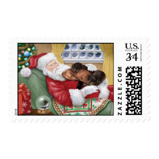 Santa and Doxie Cuddles for Christmas Postage Stamps