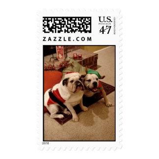 Santa and Elf Bulldog Stamp