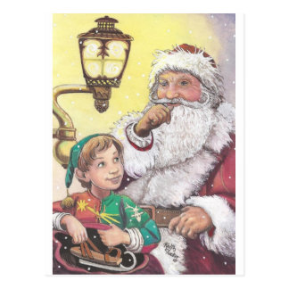Santa and Elf Postcard