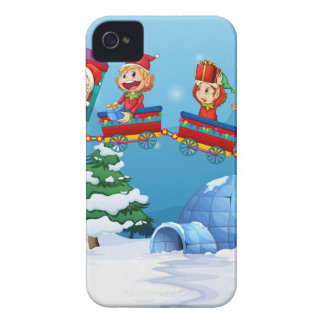Santa and elf riding on train iPhone 4 Case-Mate case