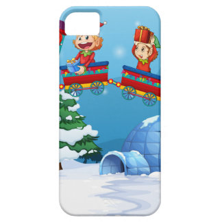 Santa and elf riding on train iPhone SE/5/5s case