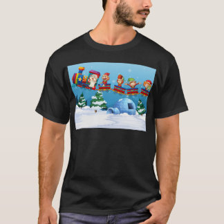 Santa and elf riding on train T-Shirt