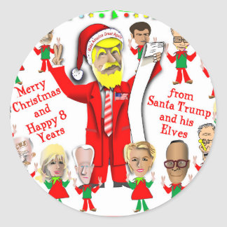 Santa and Elves Classic Round Sticker