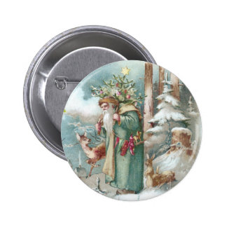Santa and Forest Animals Vintage Christmas Pinback Button