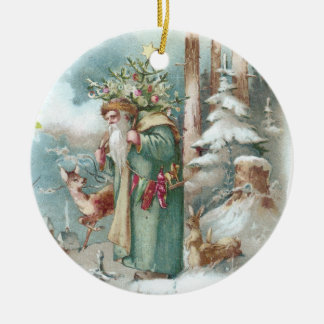 Santa and Forest Animals Vintage Christmas Christmas Ornaments