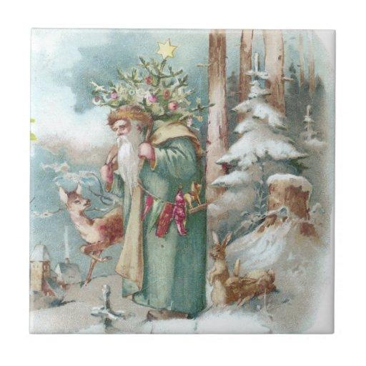 Santa and Forest Animals Vintage Christmas Tile | Zazzle