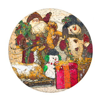 SANTA AND FRIENDS BUTTON COVERS