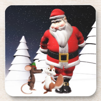 Santa and friends Christmas Coasters set