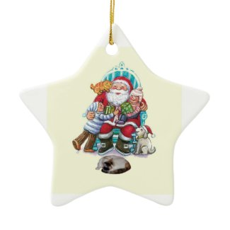 Santa and Friends Double-Sided Star Ceramic Christmas Ornament