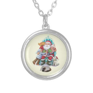 Santa and Friends Round Pendant Necklace