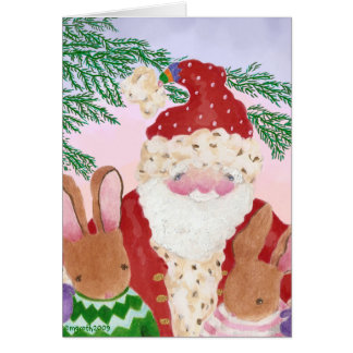 santa and furry friends card