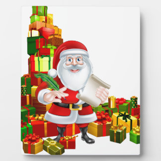 Santa and Gifts List Photo Plaques