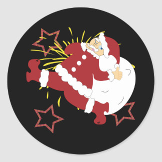 Santa and Good Luck! Classic Round Sticker