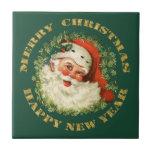 Santa and Green Pine Frame Tile