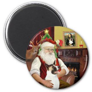 Santa and his Akita 2 Inch Round Magnet