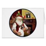 Santa and his Akita Greeting Cards
