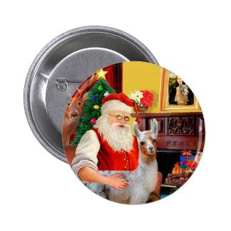 Santa and his Baby Llama 2 Inch Round Button