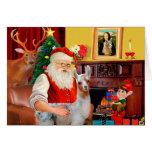 Santa and his Baby Llama Greeting Cards