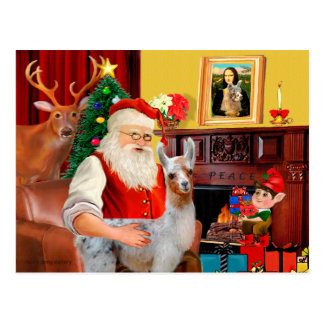 Santa and his Baby Llama Postcard