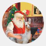 Santa and his Baby Llama Stickers