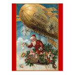 Santa and His Blimp Postcard