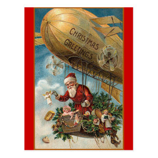 Santa and His Blimp Postcard