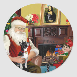 Santa and his Boston Terrier Classic Round Sticker