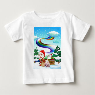 Santa and his cat in a snowy area with a rainbow baby T-Shirt