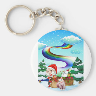 Santa and his cat in a snowy area with a rainbow keychain