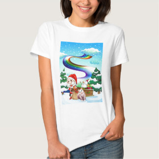 Santa and his cat in a snowy area with a rainbow T-Shirt