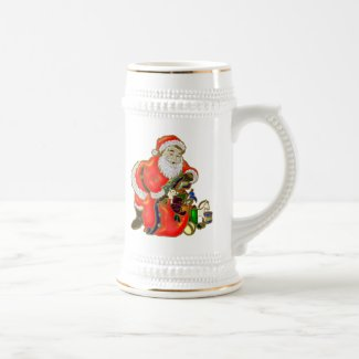 Santa and his Christmas Gifts Beer Stein