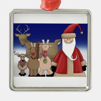 Santa and his deer metal ornament