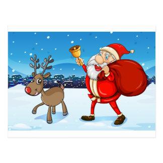 Santa and his deer walking postcard