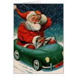 Santa and his electric car cards
