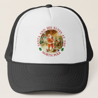 Santa and His Elves at the North Pole Stables Trucker Hat