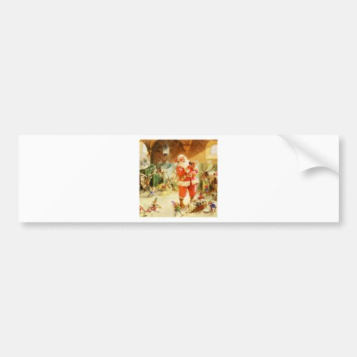Santa and His Elves in the North Pole Stables Car Bumper Sticker