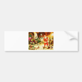 Santa and His Elves in The North Pole Stables Bumper Sticker