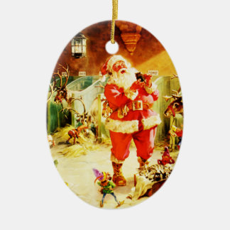 Santa and His Elves in The North Pole Stables Ceramic Ornament