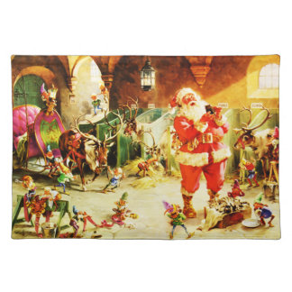Santa and His Elves in The North Pole Stables Cloth Placemat