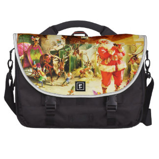 Santa and His Elves in The North Pole Stables Computer Bag